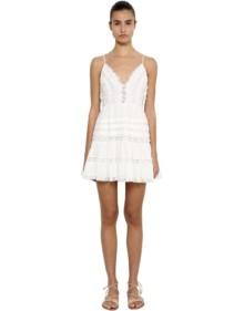 ZIMMERMANN Cotton Swiss Dot Lace Mini Ivory Dress