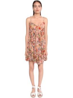 ZIMMERMANN Gathered Chiffon Mini Multi / Floral Printed Dress
