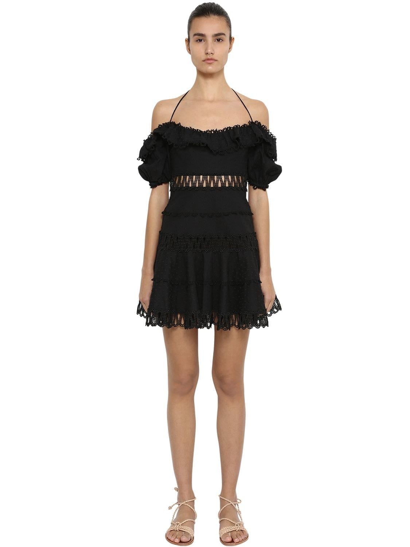 ZIMMERMANN Off The Shoulder Swiss Dot Lace Black Dress