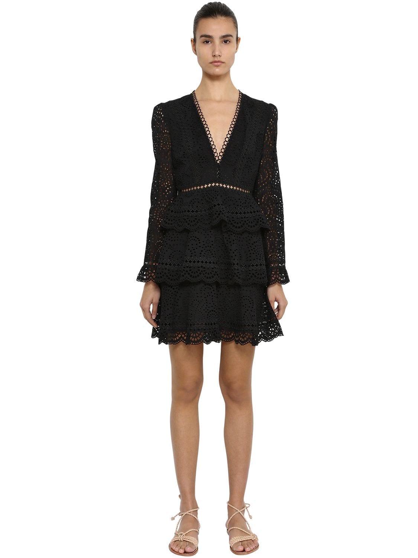 ZIMMERMANN Tiered Cotton Eyelet Lace Mini Black Dress
