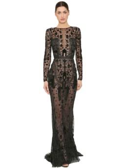 ZUHAIR MURAD Beaded Tulle Black Dress