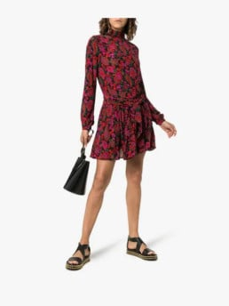 A-PEACE-TREATY-Zeke-Printed-Silk-Crepe-Mini-Multi-Dress