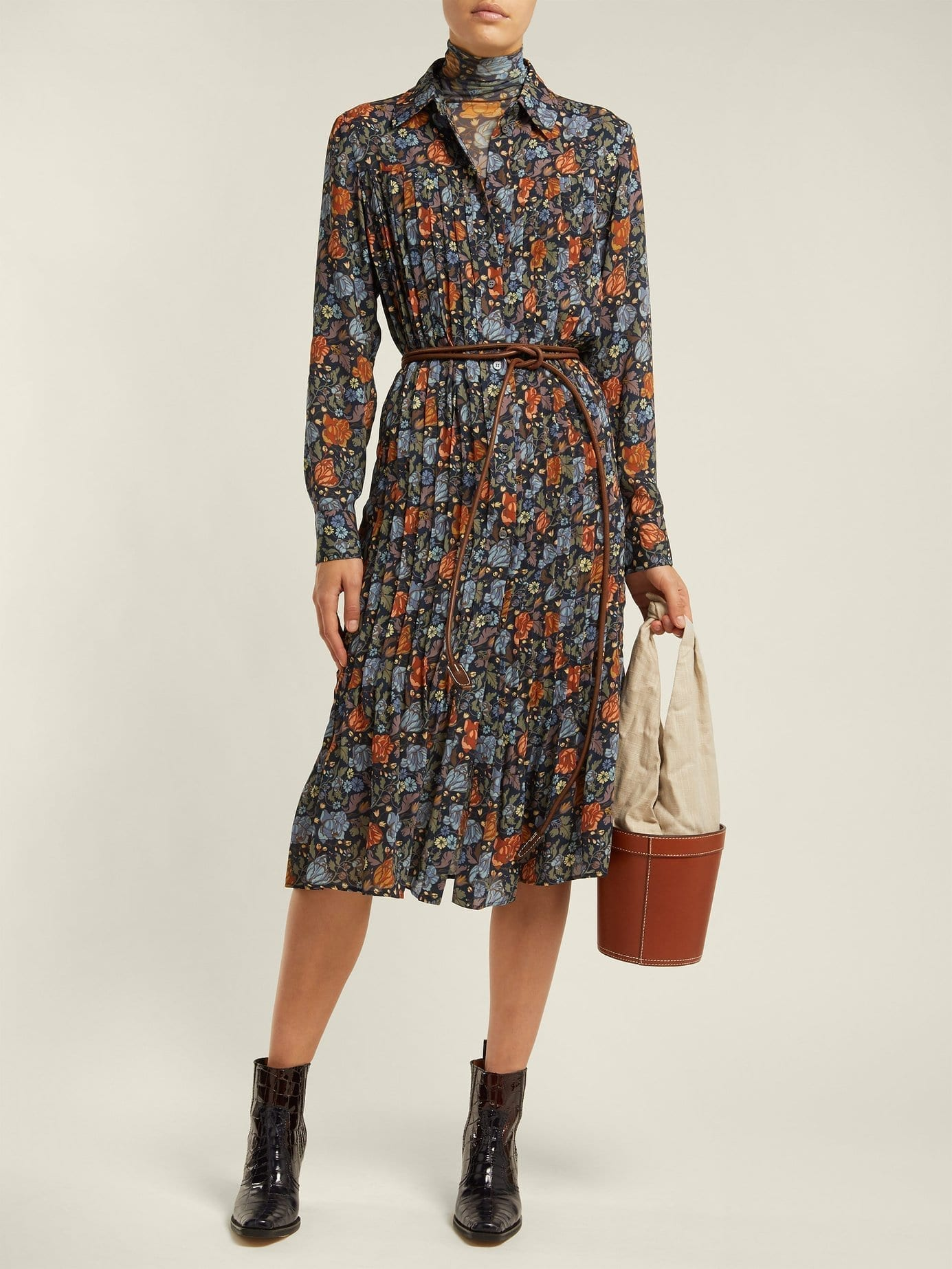Acne Studios Pleated Navy Fl Printed Dress