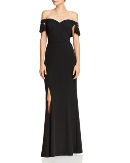 AIDAN MATTOX Off-the-Shoulder Tasseled Black Gown