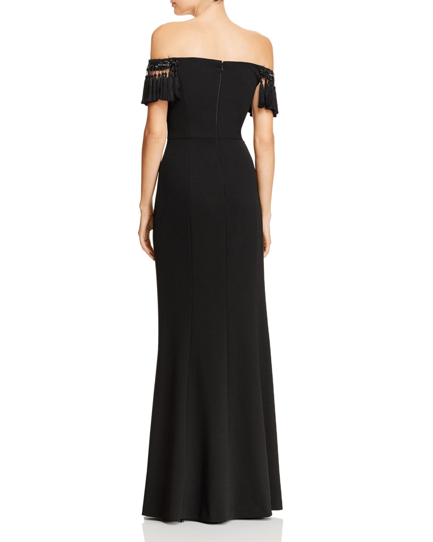 37ab0fcf1ca AIDAN MATTOX Off-the-Shoulder Tasseled Black Gown - We Select Dresses