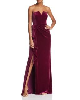 AIDAN MATTOX Strapless Velvet Plum Gown