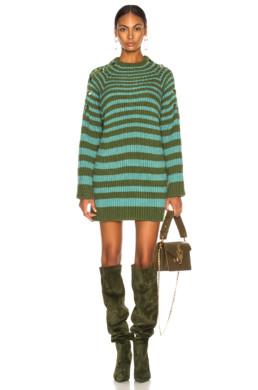 ALBERTA FERRETTI Oversized Striped Green / Sky Blue Sweater
