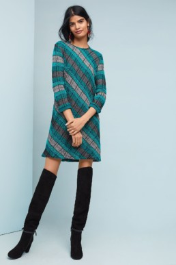 ALDOMARTINS Plaid Sweater Grey / Turquoise Dress