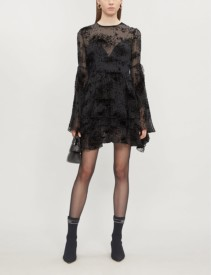 ALEX PERRY Buckley Flocked Silk-Blend Black Dress
