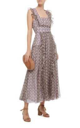 ALEXACHUNG Checkered Ruffle Organza Midi Pink Dress