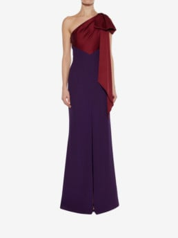 ALEXANDER MCQUEEN Drape Shoulder Evening Dark Purple Dress