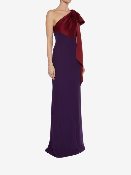 Alexander Mcqueen Drape Shoulder Evening Dark Purple Dress 3