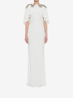 ALEXANDER MCQUEEN Embroidered Evening Ivory Dress
