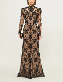 ALEXANDER MCQUEEN High-Neck Lace Black Gown