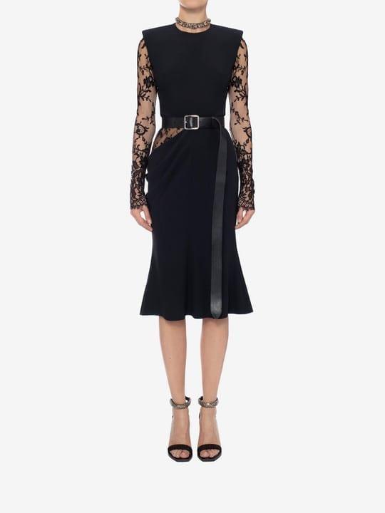 ALEXANDER MCQUEEN Lace Detail Midi Black Dress
