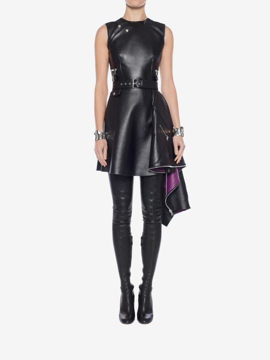 ALEXANDER MCQUEEN Leather Peplum Mini Black Dress