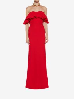 ALEXANDER MCQUEEN Off-the-shoulder Evening Red Dress