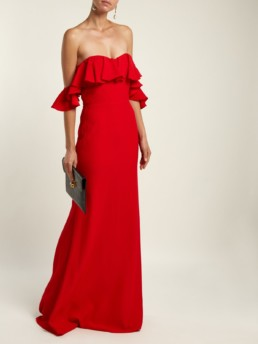 ALEXANDER MCQUEEN Ruffled Off The-shoulder Crepe Red Gown