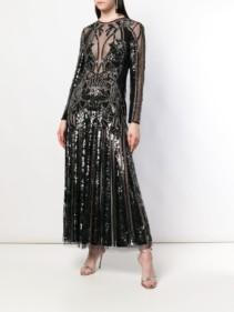 ALEXANDER MCQUEEN Structured Sheer Black Dress