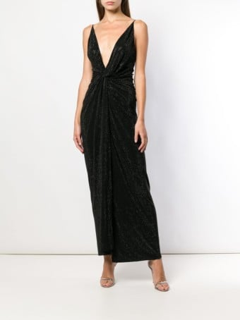 ALEXANDRE VAUTHIER Micro Studded Ruched Black Gown