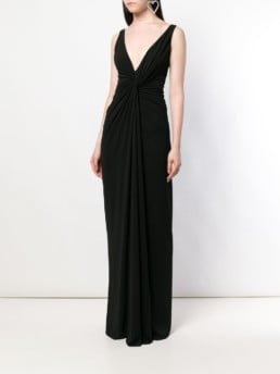 ALEXANDRE VAUTHIER Ruched Waist Black Gown