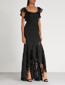 ALEXIS Zander Embroidered-Lace Black Gown