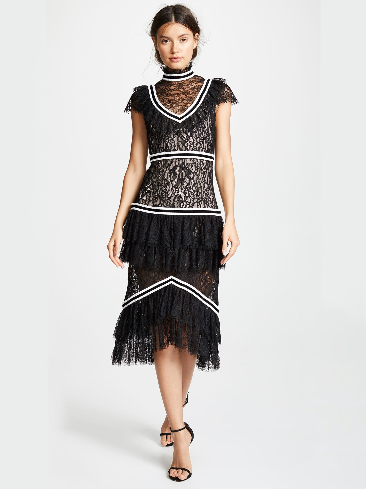 Alice Olivia Annetta Ruffle Black Off White Dress