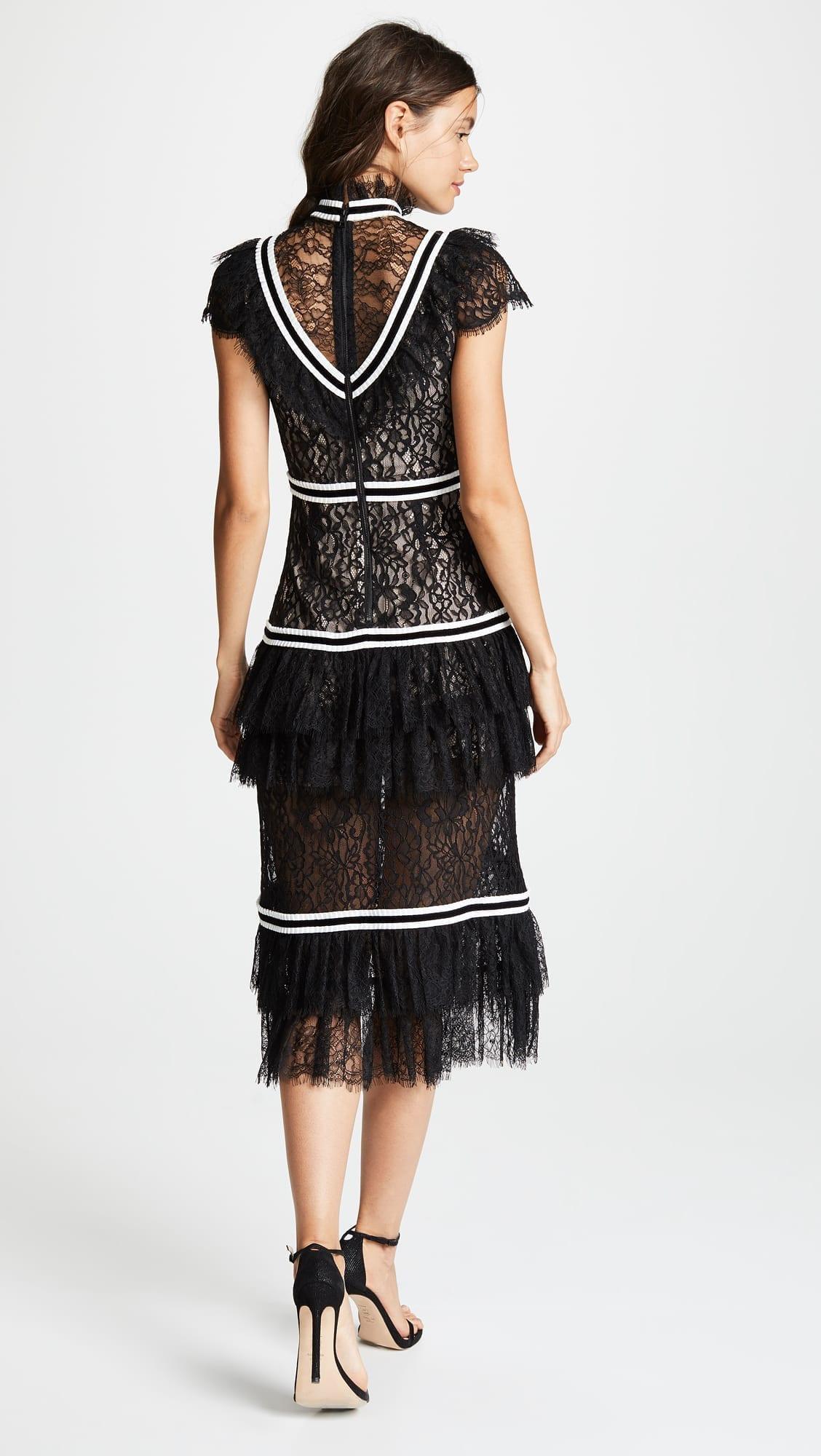 Alice Olivia Annetta Ruffle Black Off White Dress