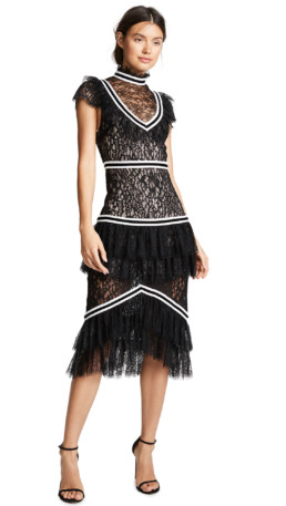 ALICE + OLIVIA Annetta Ruffle Black / Off White Dress