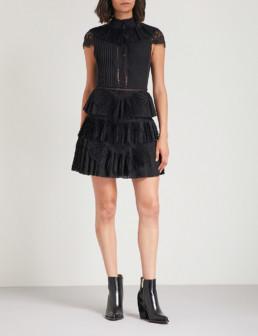 ALICE & OLIVIA Rosetta Lace-Panelled Pleated Chiffon Mini Black Dress