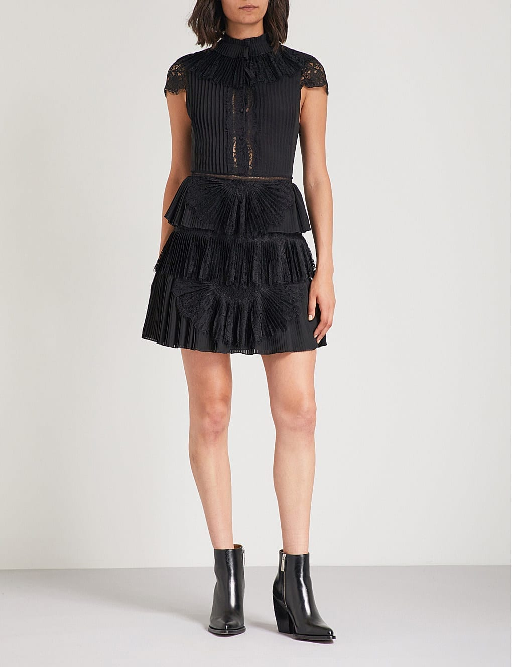 ALICE & OLIVIA Rosetta Lace-Panelled Pleated Chiffon Mini Black Dress