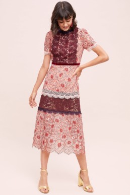 ANTHROPOLOGIE High Neck Lace Pink Dress