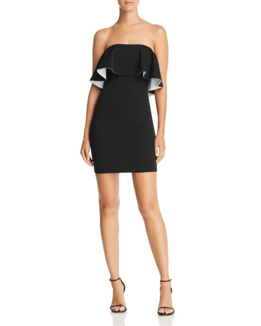 AQUA Double Face Scuba Popover Black / White Dress