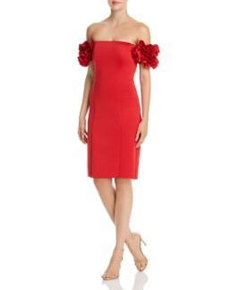 AQUA Off-the-Shoulder Ruffle Sleeve Red Dress