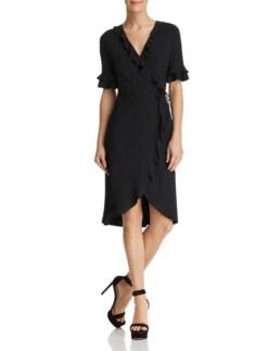 AQUA Ruffled Rib-Knit Wrap Black Dress