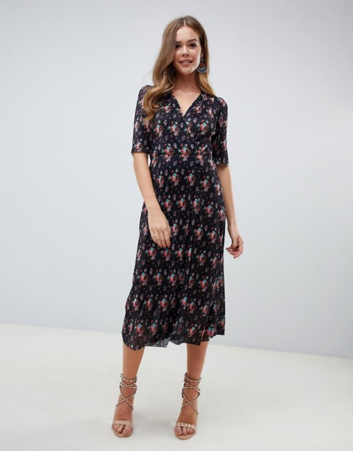 ASOS DESIGN Button Detail Midi Plisse Ditsy Printed Dress
