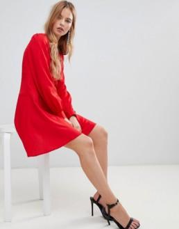 ASOS DESIGN Button Through Mini Tea Red Dress