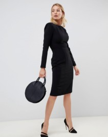 ASOS DESIGN FULLER BUST Shoulder Pad Seams Midi Black Dress