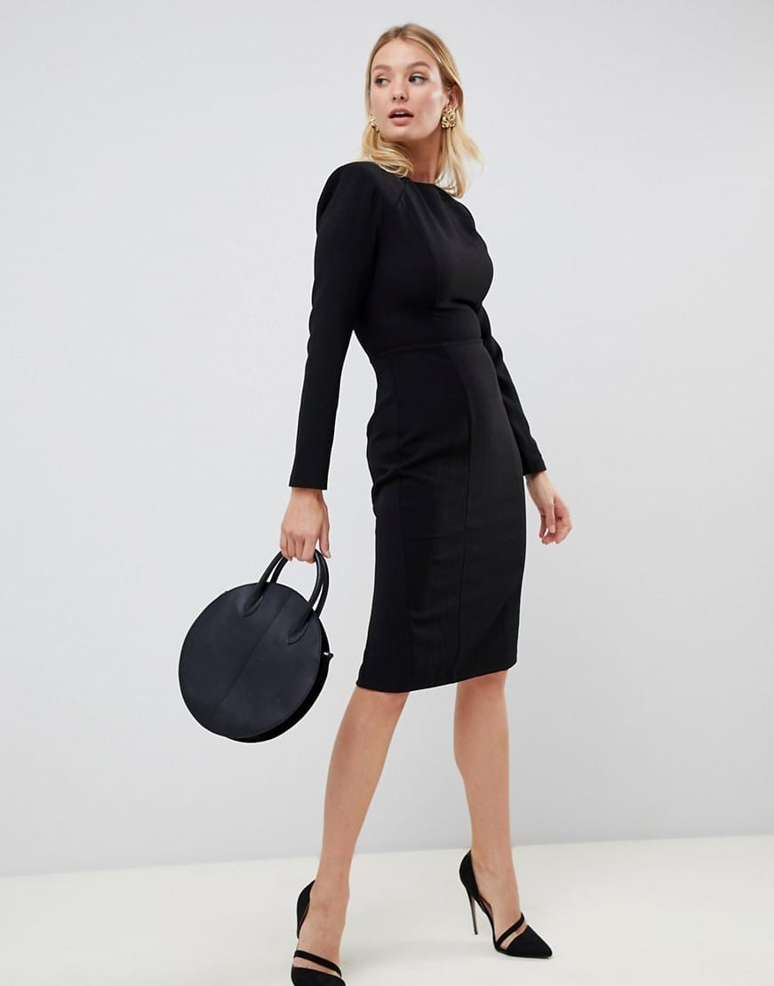 ASOS DESIGN FULLER BUST Shoulder Pad Seams Midi Black Dress