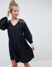 ASOS DESIGN Lace Inserts V Neck Button Through Mini Smock Black Dress