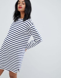 ASOS DESIGN Maternity Sweat Stripe Long Sleeves White Dress