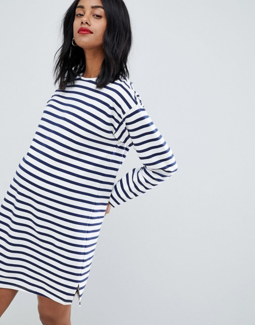 ASOS DESIGN Maternity Sweat Stripe Long Sleeves White Dress