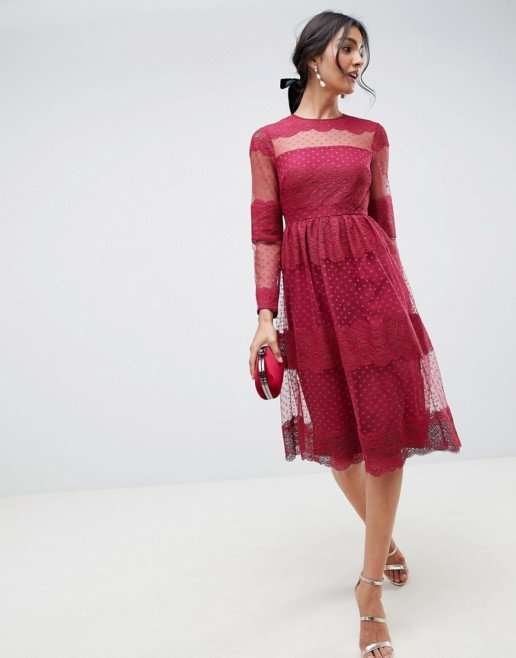 ASOS DESIGN Premium Lace & Dobby Mesh Midi Dark Red Dress