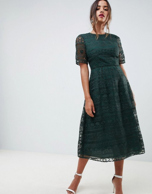 ASOS DESIGN Premium Lace Midi Forest Green Dress