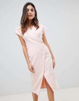 ASOS DESIGN Side Button Detail Midi Wrap Blush Dress