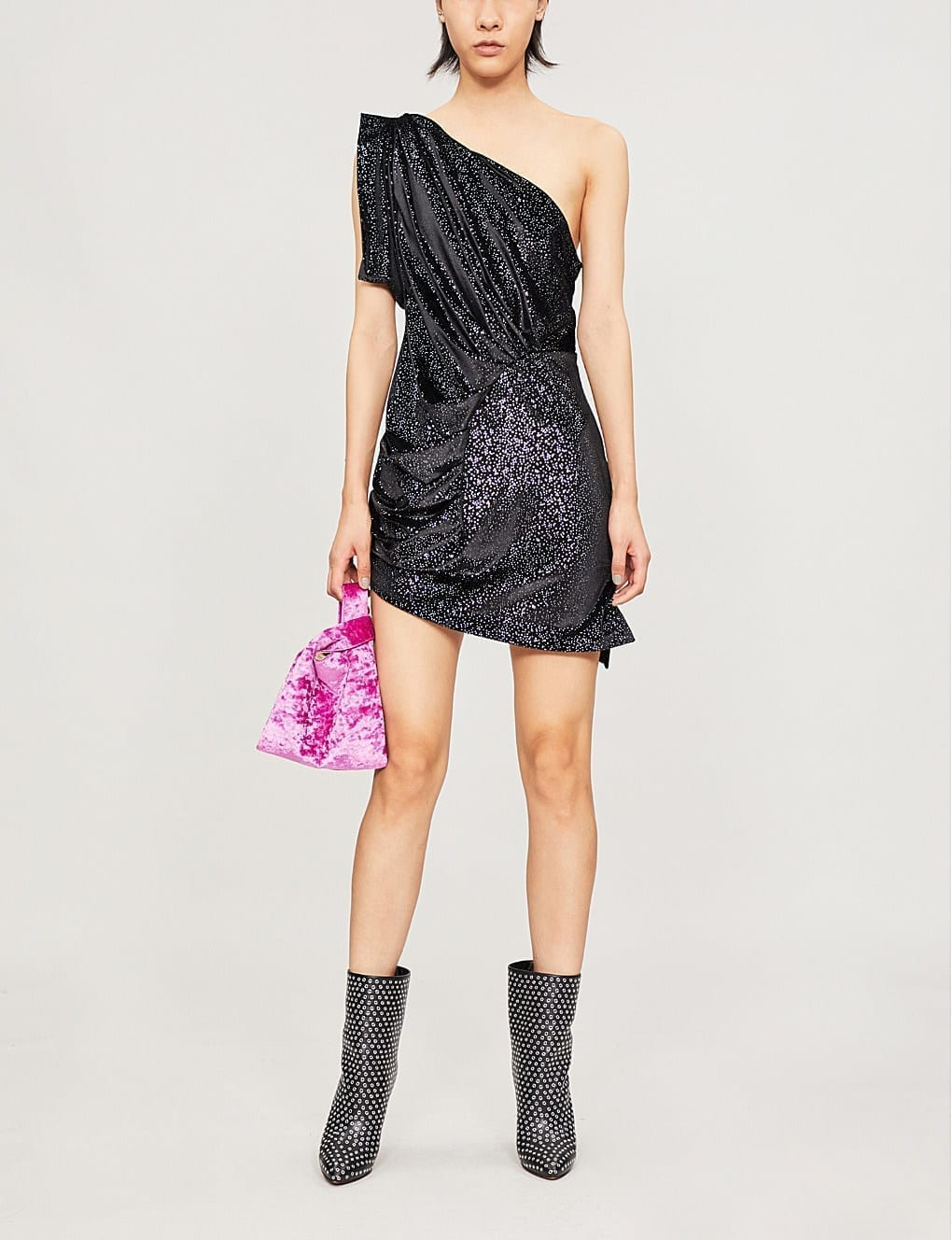 ATTICO One-Shoulder Metallic Velvet Mini Black Dress