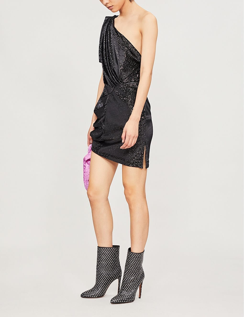 ATTICO One-Shoulder Metallic Velvet Mini Black Dress_2