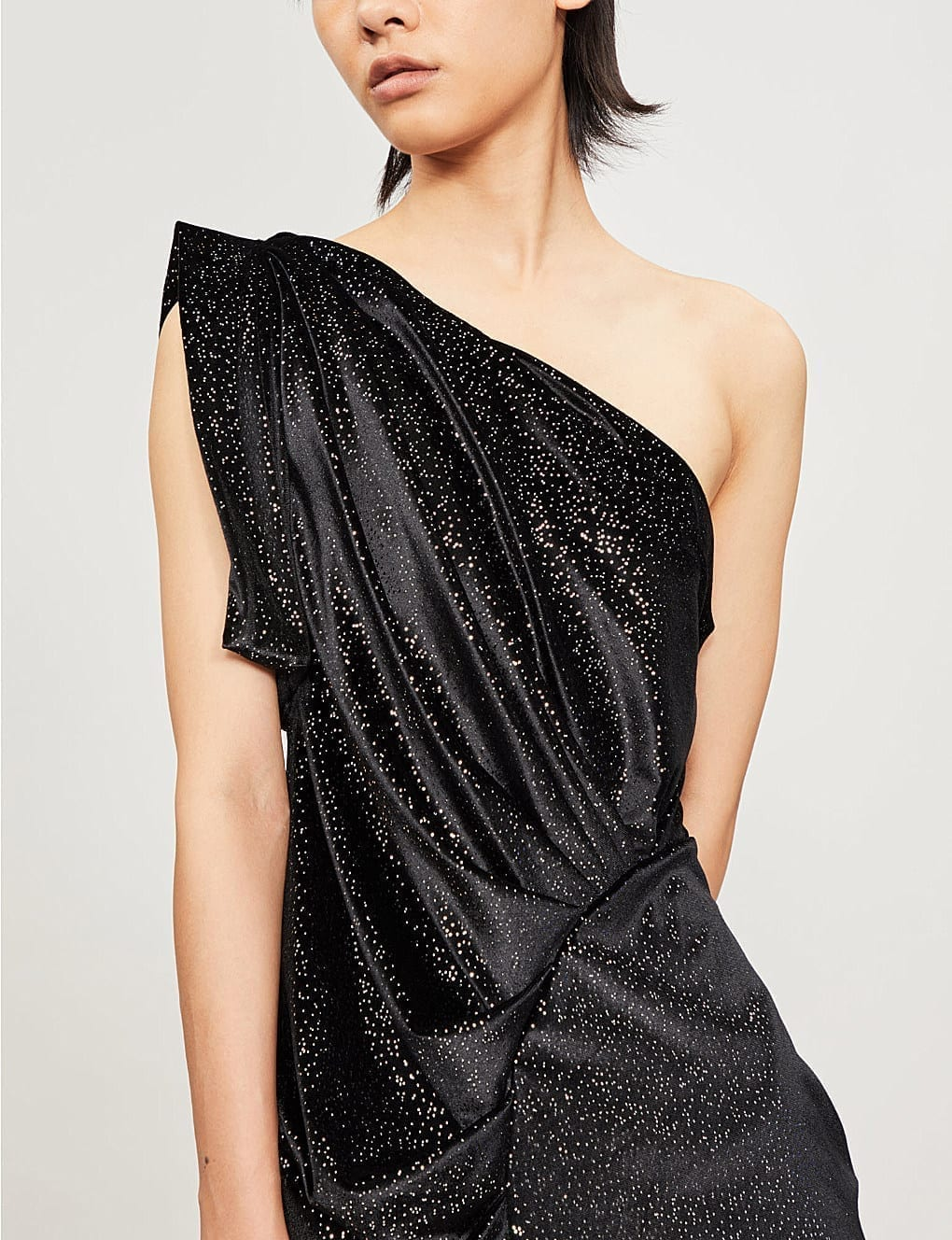 ATTICO One-Shoulder Metallic Velvet Mini Black Dress_4