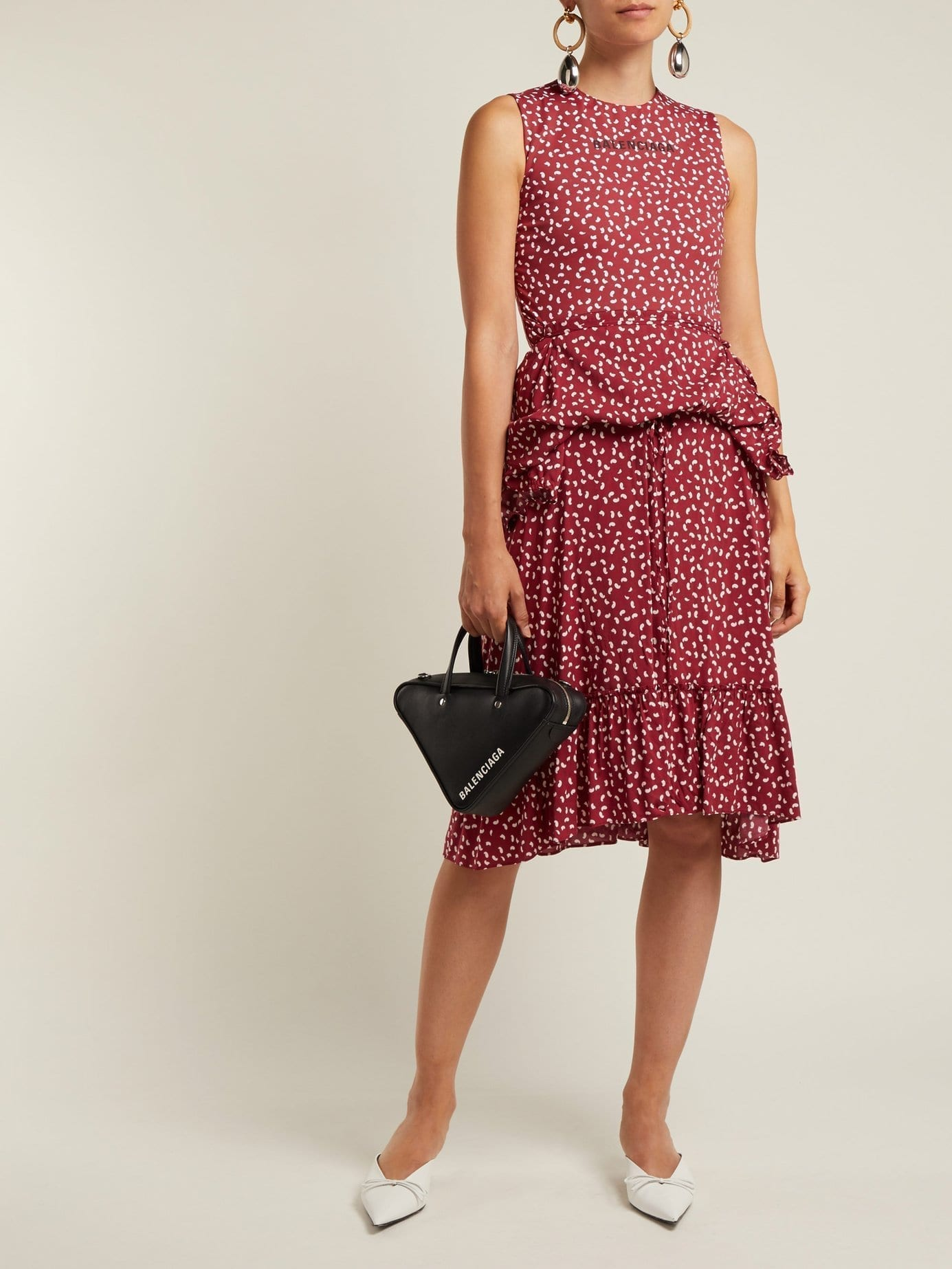 BALENCIAGA Paisley Print Layered Burgundy Dress