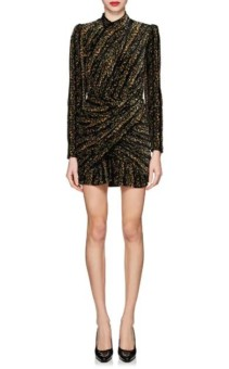BALENCIAGA_Metallic_Velvet_Jacquard_Mini_Black_Dress